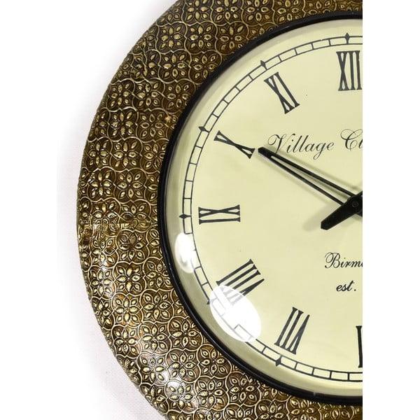 Nástěnné hodiny z tepaného kovu Karnátaka, 47 cm
