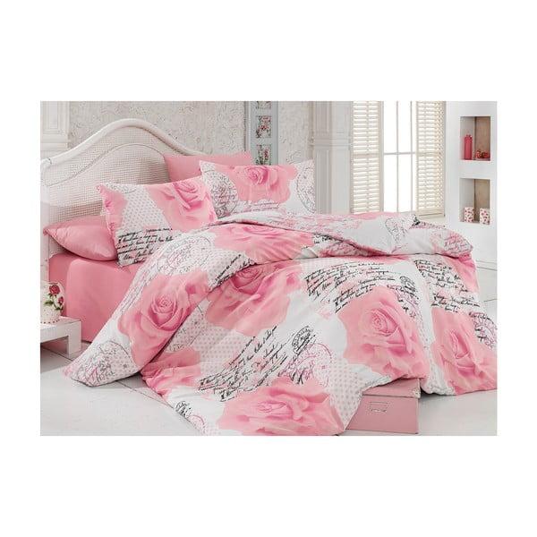 Sada povlečení a prostěradla Pink Roses, 200x220 cm