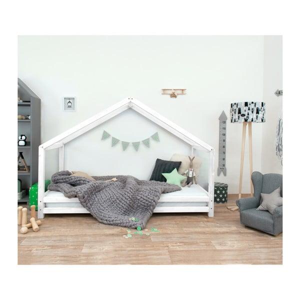Bílá dětská postel z lakovaného smrkového dřeva Benlemi Sidy, 80 x 160 cm