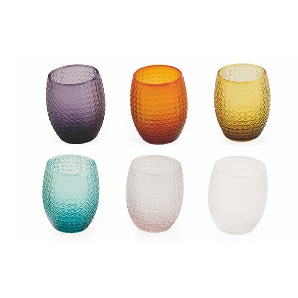 Sada 6 barevných sklenic na vodu Villad'Este Karma, 300ml