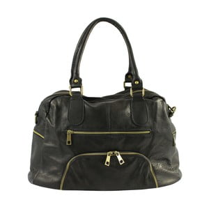 Černá kožená kabelka Chicca Borse Jenny