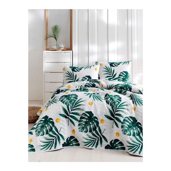 Set cuvertură de pat și față de pernă din bumbac Lura Jungle, 160 x 220 cm