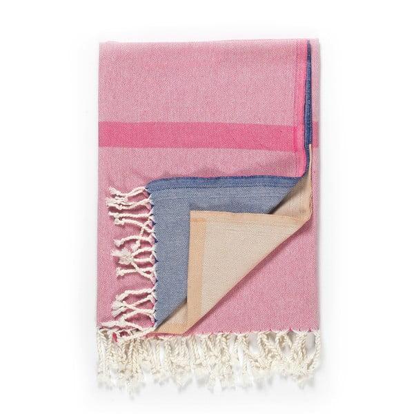 Prosop de plajă Kate Louise Cotton Collection Line, 100 x 180 cm, roz-bej-albastru