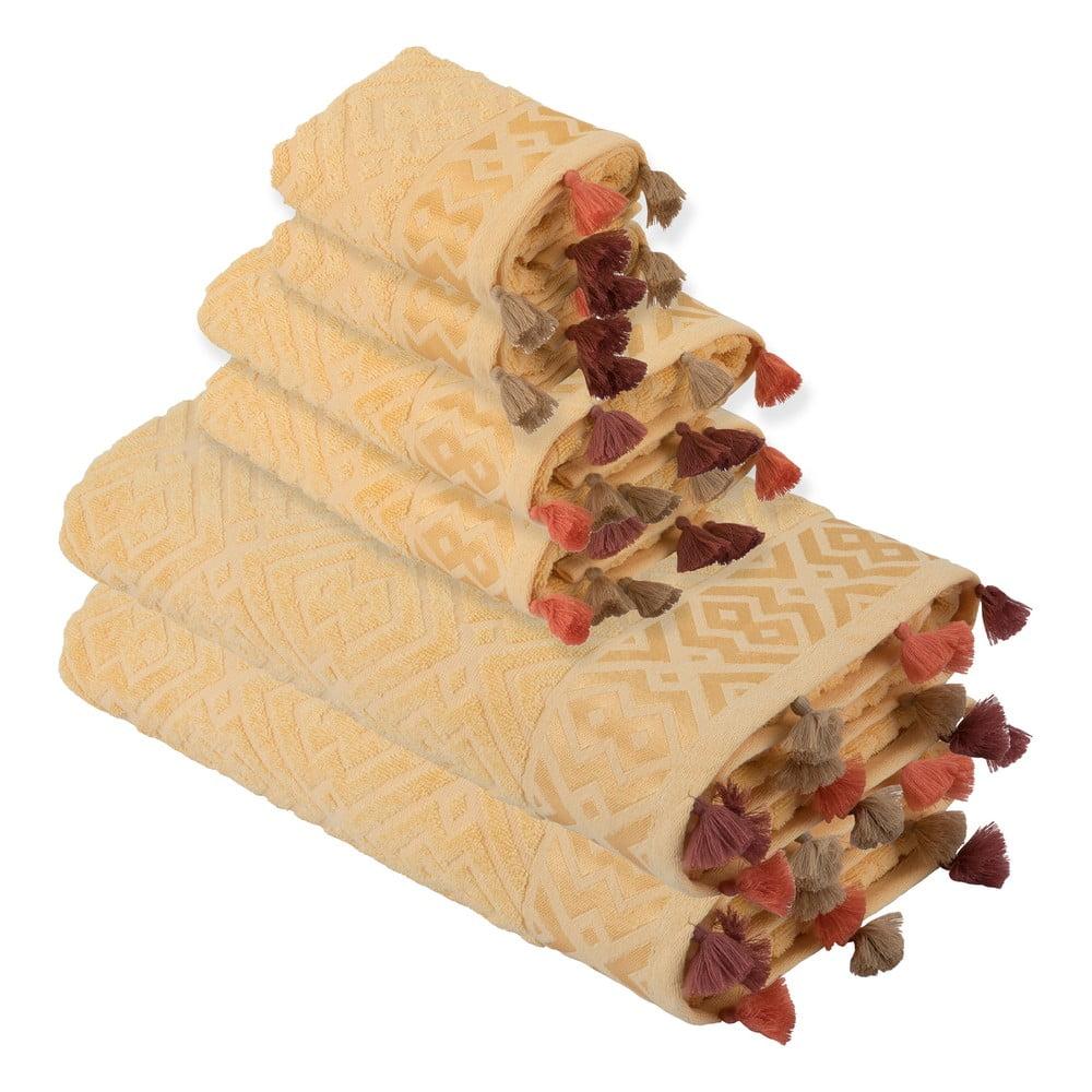 Sada 6 žlutých bavlněných ručníků Bella Maison Mosaic Towel