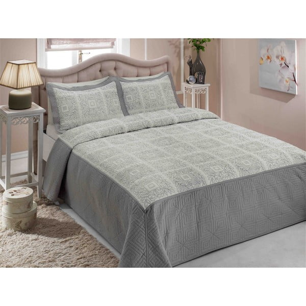 Sada přehozu přes postel a dvou polštářů Double 222, 250 x 260 cm