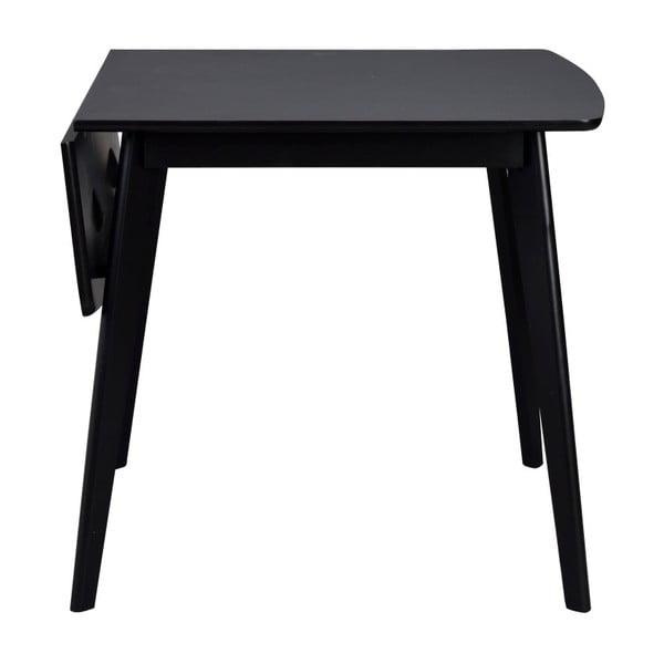 Černý jídelní stůl se sklápěcí deskou Folke Olivia, délka 80+30cm