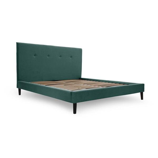 Zeleno-modrá postel s černými nohami Vivonita Kent,160x200cm