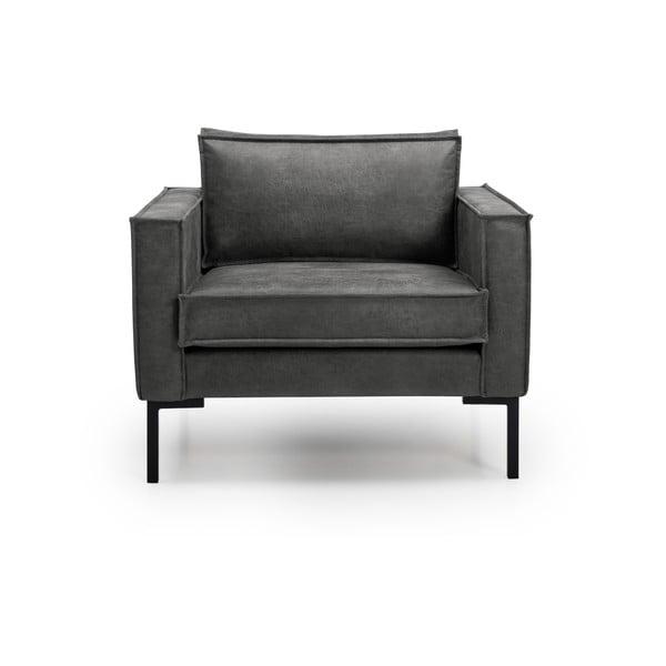 Ciemnobrązowy fotel ze sztucznej skóry Scandic Rate