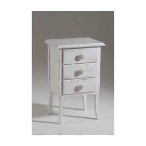 Bílý dřevěný noční stolek se 3 zásuvkami Castagnetti Esther