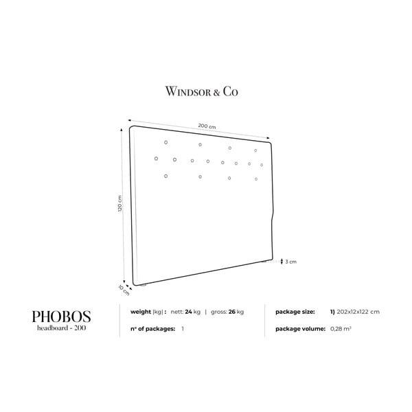 Tmavě šedé čelo postele Windsor & Co Sofas Phobos, 200 x 120 cm
