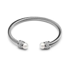 Bíle pozlacený náramek s perlami a Swarovski krystaly GemSeller Bacopa