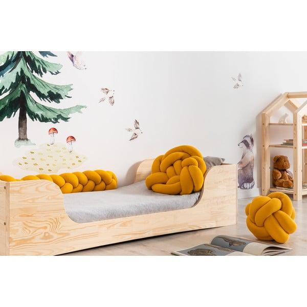 Sada 3 hořčicově žlutých bavlněných polštářů Adeko