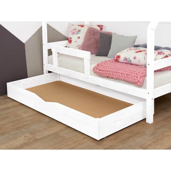 Biała drewniana szuflada pod łóżko Benlemi Buddy, 80x140 cm