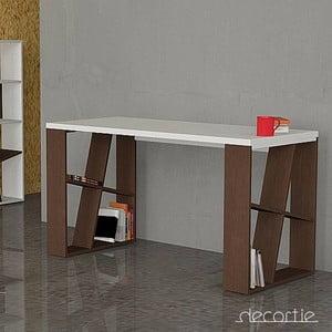 Kancelářský stůl Honey, bílá/wenge