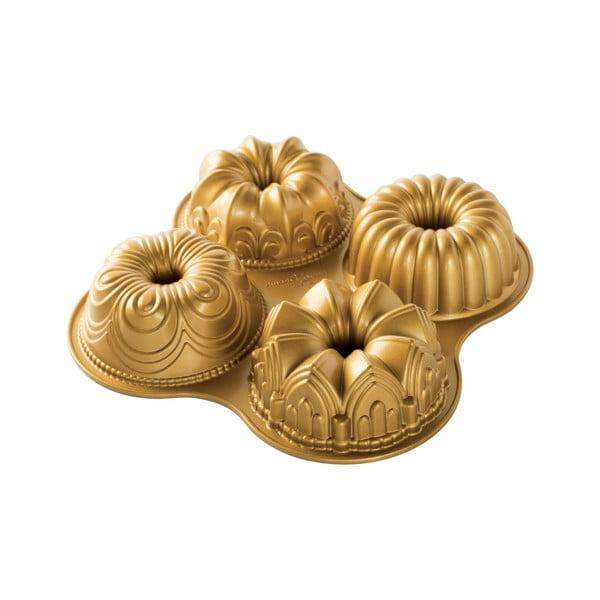 Forma na 4 minibábovky v zlatej farbe Nordic Ware Minimix, 2,1 l