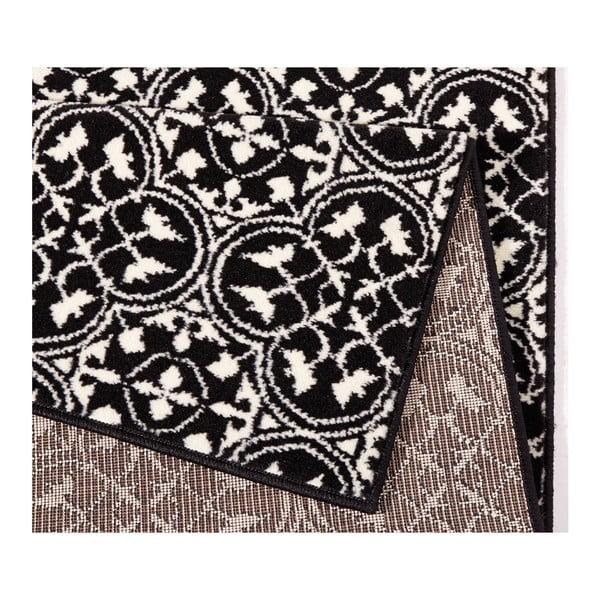 Černý běhoun Hanse Home Gloria Pattern, 80x300cm