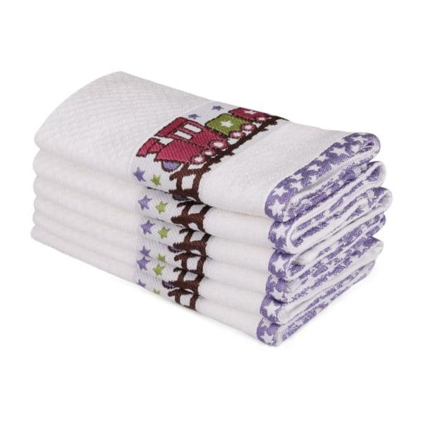 Sada šesti dětských ručníků s motivem vláčku Little Train