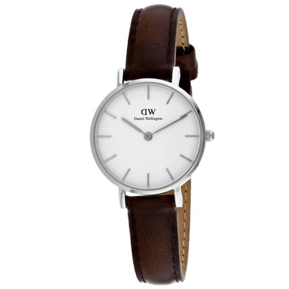 Dámské hodinky s koženým řemínkem a bílým ciferníkem s detaily stříbrné barvy Daniel Wellington Petite Bristol, ⌀ 28 mm