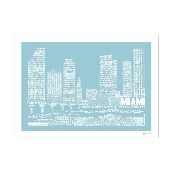 Plakát Miami Blue&White, 50x70 cm
