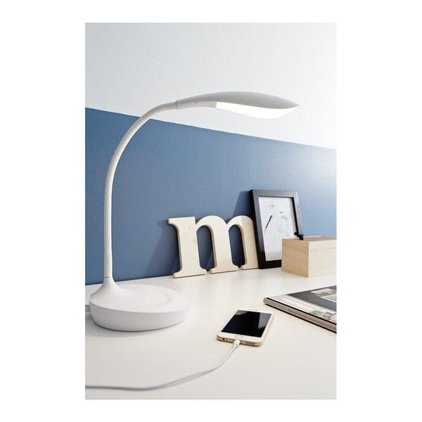 Bílá stolní lampička s USB portem Markslöjd Swan