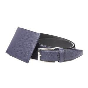Pánský dárkový set modré kožené peněženky a pásku Trussardi Mikolas