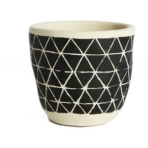 Černý keramický květináč Simla Diamond, výška11cm