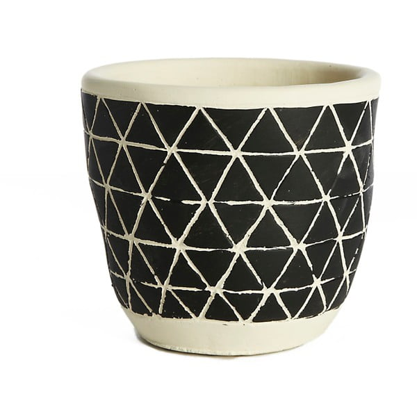 Czarna doniczka ceramiczna Simla Diamond, wys. 11 cm