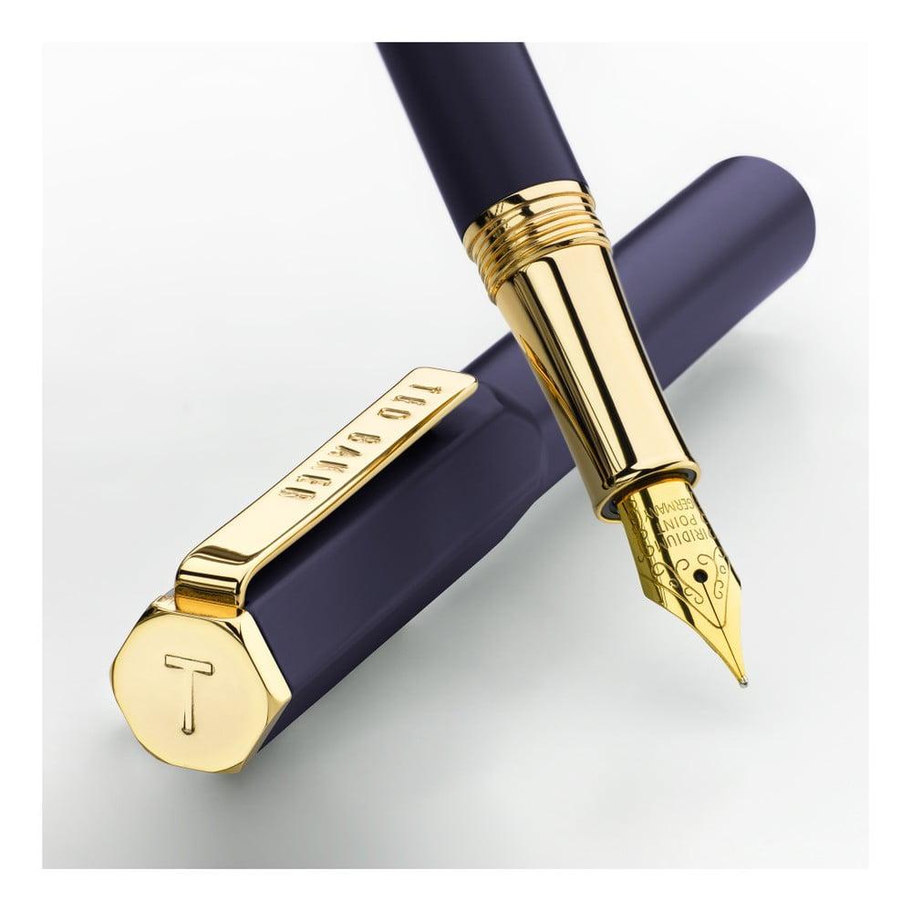 Tmavě modré bombičkové pero se zlatými detaily Ted Baker Fountain