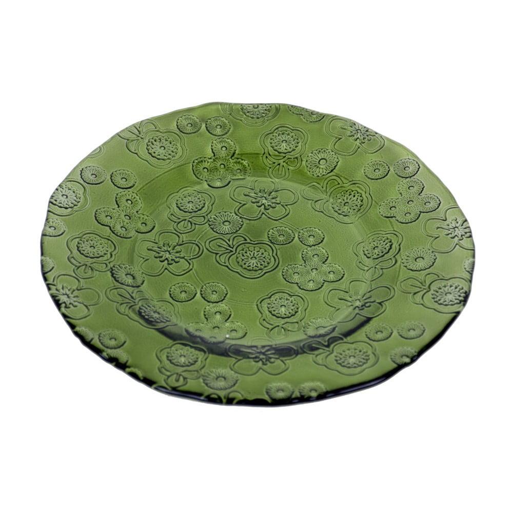 Zelený skleněný talíř Ego Dekor Flora, 20 cm