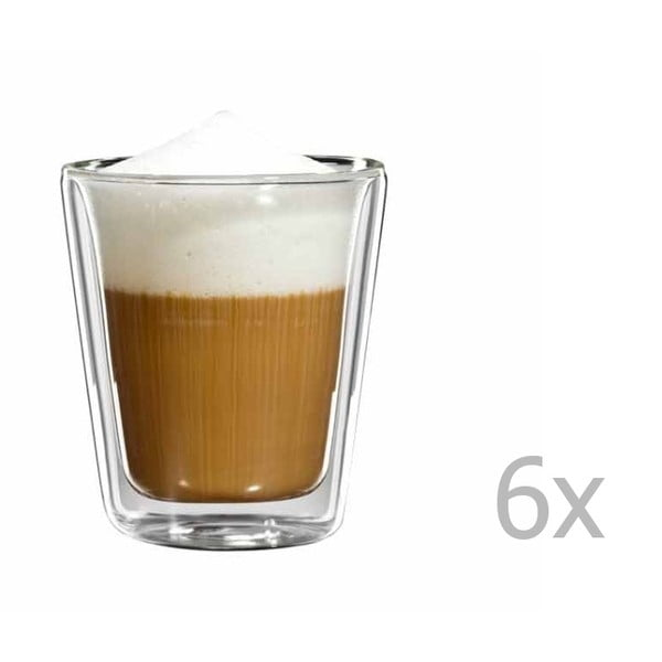 Sada 6 skleněných hrnečků na cappuccino bloomix