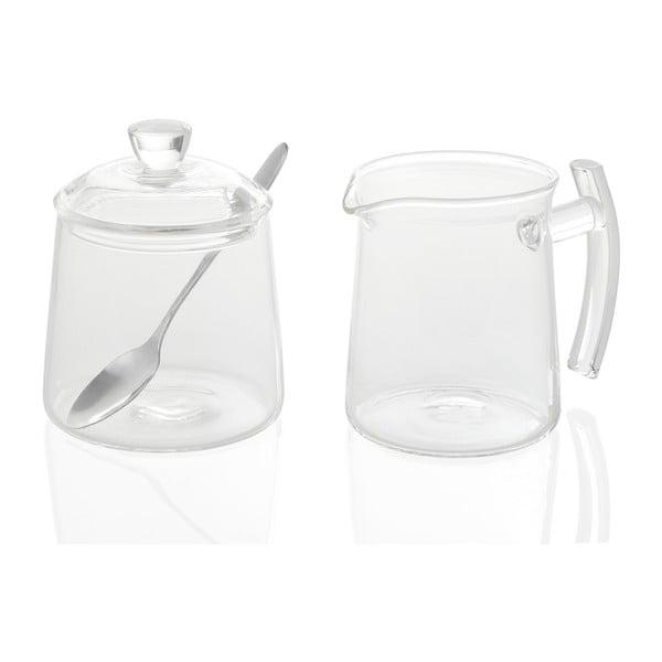 Set cukřenky a mléčenky Glass