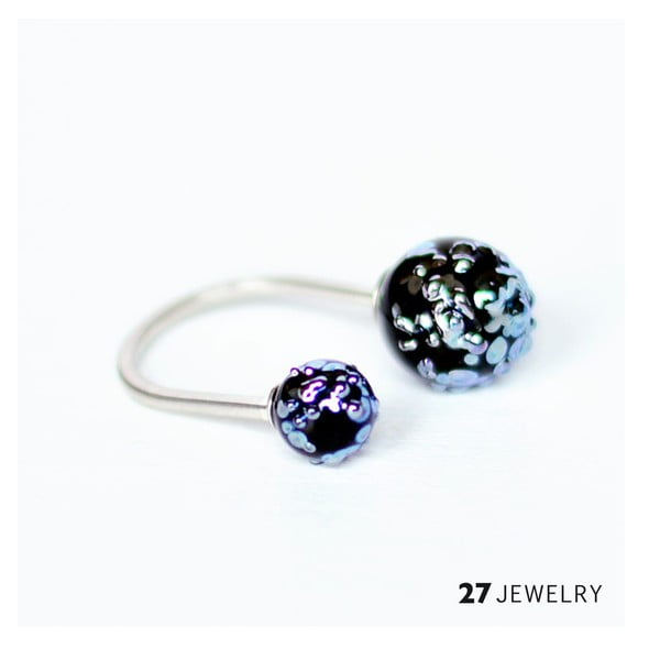 Silver Mess dvojitý prsten ze skla