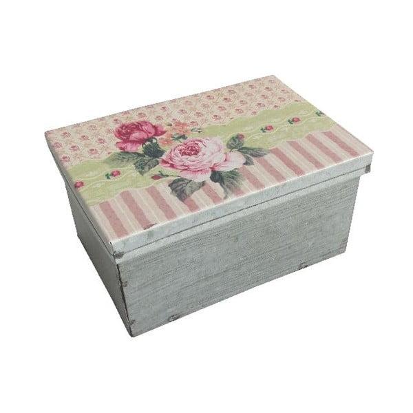 Kovová škatuľka Antic Line Stripes and Roses