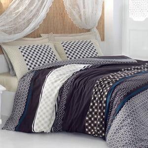 Lenjerie de pat din bumbac cu cearșaf Rosella Black, 200 x 220 cm