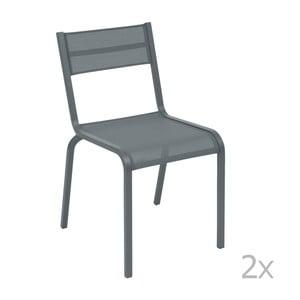 Sada 2 tmavě šedých kovových zahradních židlí Fermob Oléron
