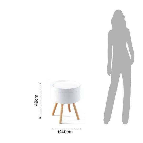 Bílý odkládací stolek s úložným prostorem Tomasucci Spok