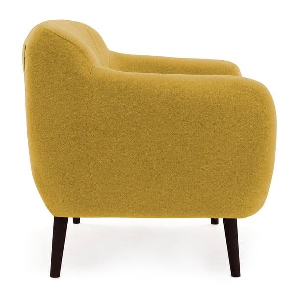 Canapea 3 locuri cu picioare negre Vivonia Kennet, galben