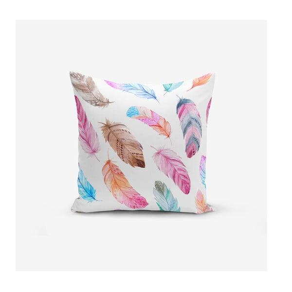 Față de pernă cu amestec din bumbac Minimalist Cushion Covers Colorful Bird Pendants, 45 x 45 cm