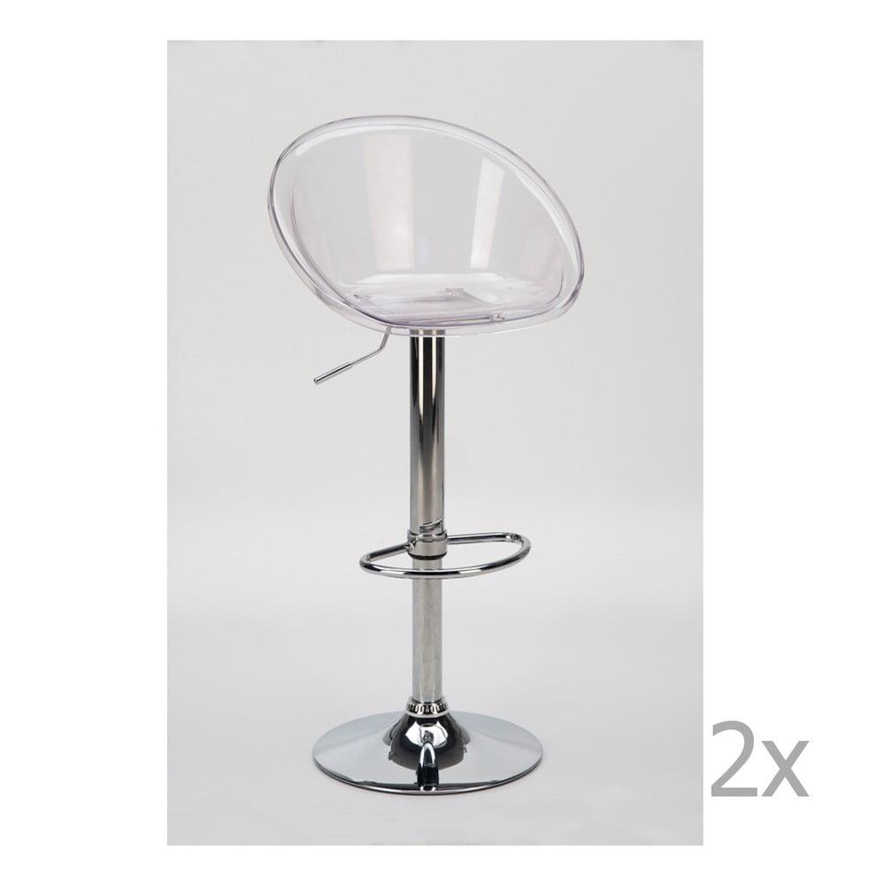 Sada 2 transparentních nastavitelných barových židlí Castagnetti Bar