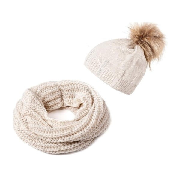 Sada čepice a šály Crochet Beige