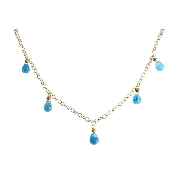 Zlatý náhrdelník Blue Topaz Quarz (topaz)