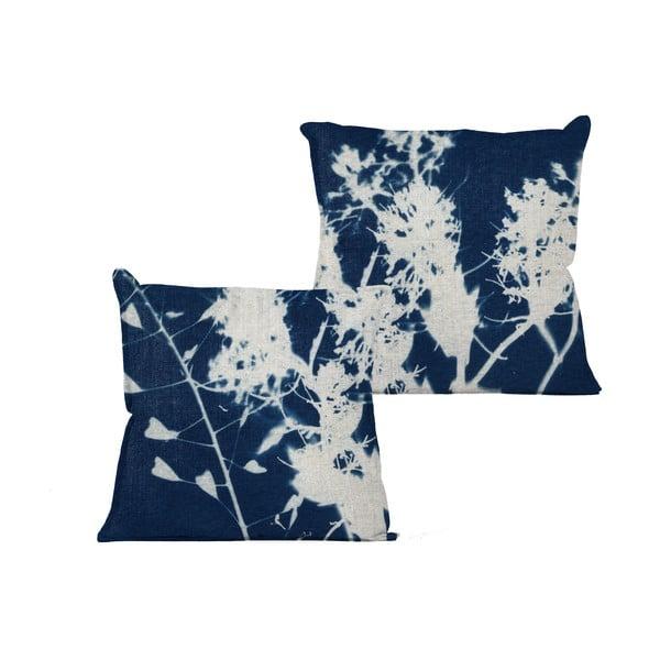 Modrý vankúš s abstraktným vzorom Linen Couture Spot, 45 x 45 cm