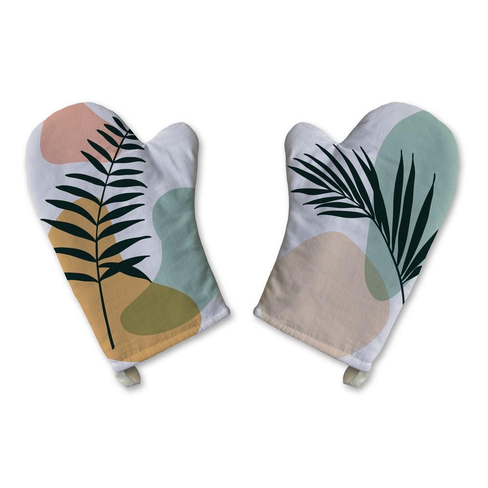 Sada 2 bavlněných kuchyňských rukavic Butter Kings Botanical Art