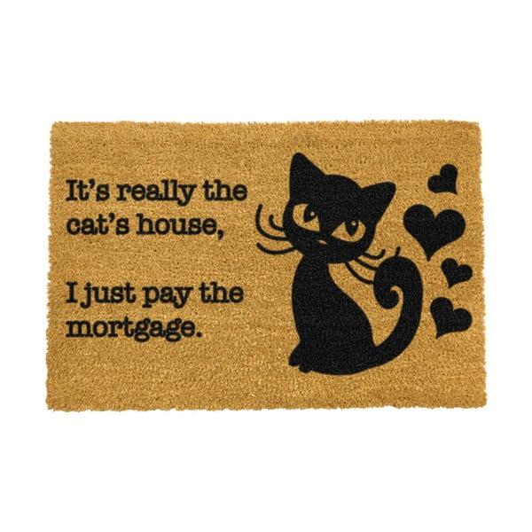 Rohožka z přírodního kokosového vlákna Artsy Doormats It's really the Cats House,40x60cm