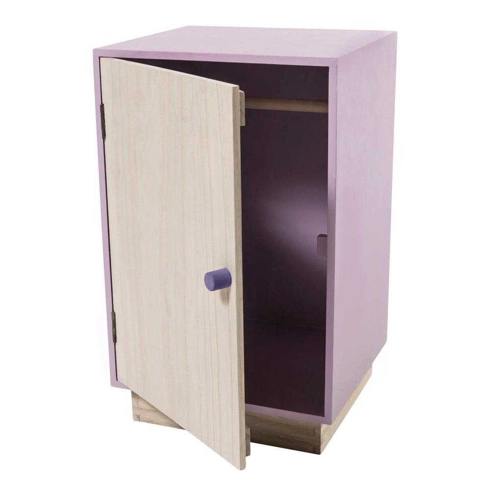 Dřevěná fialová skříň na oblečení pro panenky Sebra Dolls Closet