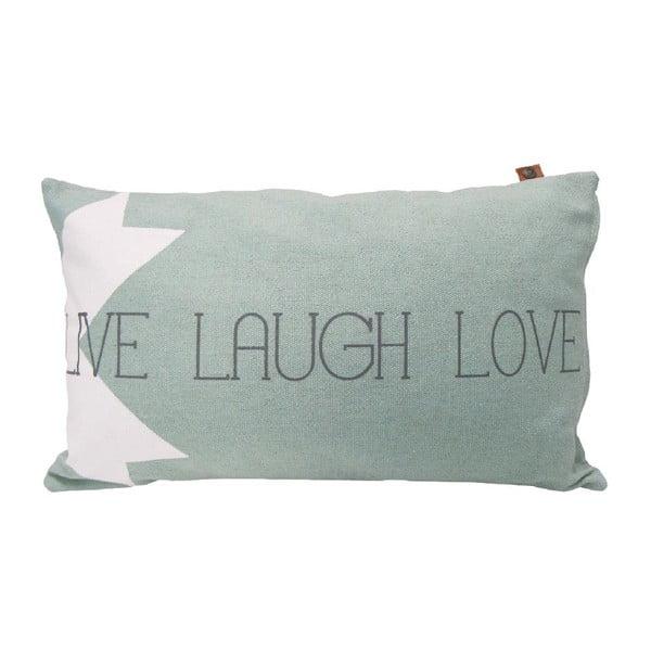 Světle šedý polštář OVERSEAS Live Laugh Love,30x50cm