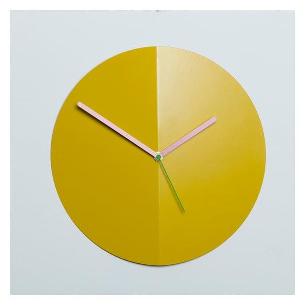 Nástěnné hodiny Mountain Fold, žluté