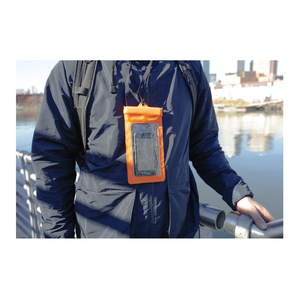 Husă impermeabilă pentru telefon Kikkerland Waterproof, portocaliu