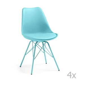Sada 4 modrých židlí La Forma Lars