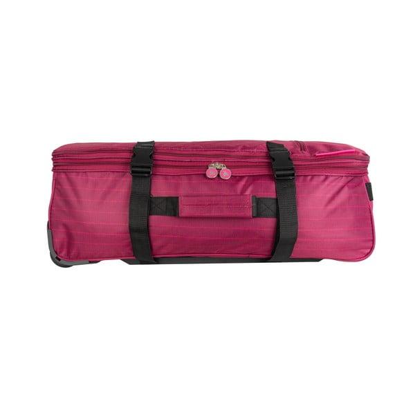 Ružová cestovná taška na kolieskach Lulucastagnette Rallas, 91 l